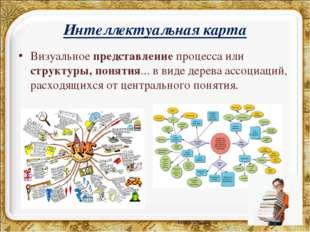 Интеллектуальная карта Визуальноепредставлениепроцесса или структуры, понят