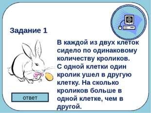 Разминка В каждой из двух клеток сидело по одинаковому количеству кроликов. С