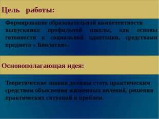Цель моей работы: Формирование образовательной компетентности выпускника проф