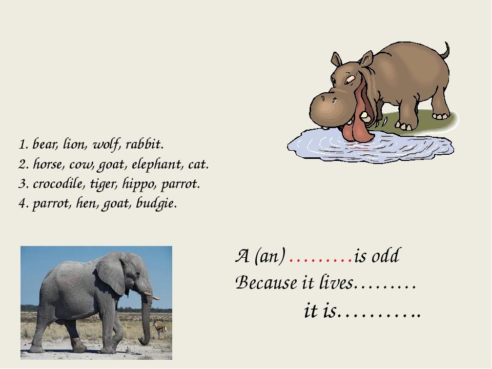 1. bear, lion, wolf, rabbit. 2. horse, cow, goat, elephant, cat. 3. crocodile...