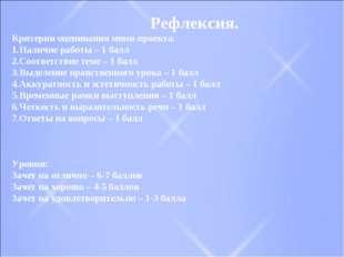Рефлексия. Критерии оценивания мини-проекта: Наличие работы – 1 балл Соответ