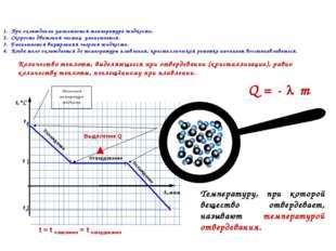 Отвердевание Охлаждение Выделение Q t = t плавления = t отвердевания Охлажден