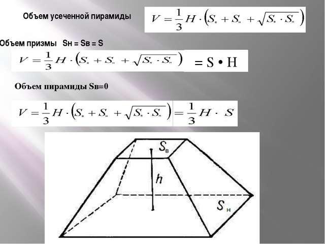 Объем усеченной пирамиды Объем призмы Sн = Sв = S = S • H Объем пирамиды Sв=0