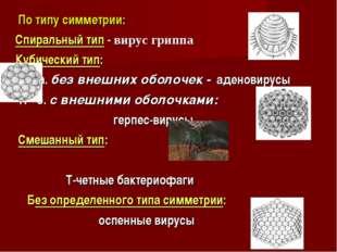 По типу симметрии: Спиральный тип - вирус гриппа Кубический тип: а. без внеш