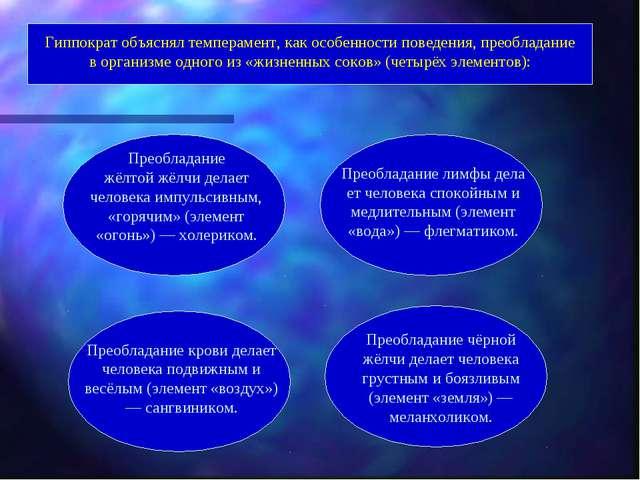 Гиппократобъяснял темперамент, как особенности поведения, преобладание в орг...