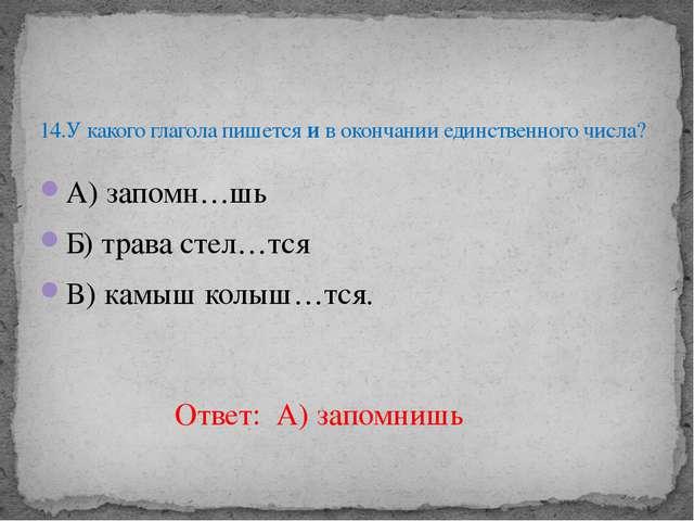 А) запомн…шь Б) трава стел…тся В) камыш колыш…тся. 14.У какого глагола пишетс...