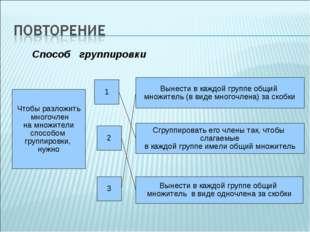 Чтобы разложить многочлен на множители способом группировки, нужно 1 2 3 Вын