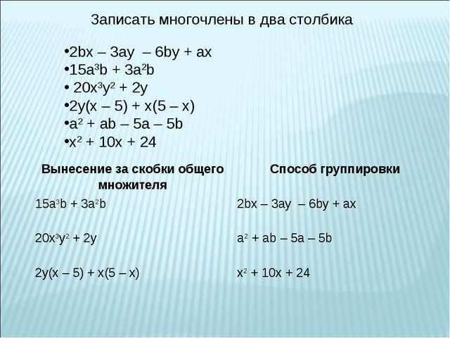 Записать многочлены в два столбика 2bx – 3ay – 6by + ax 15a3b + 3a2b 20x3y2 +...
