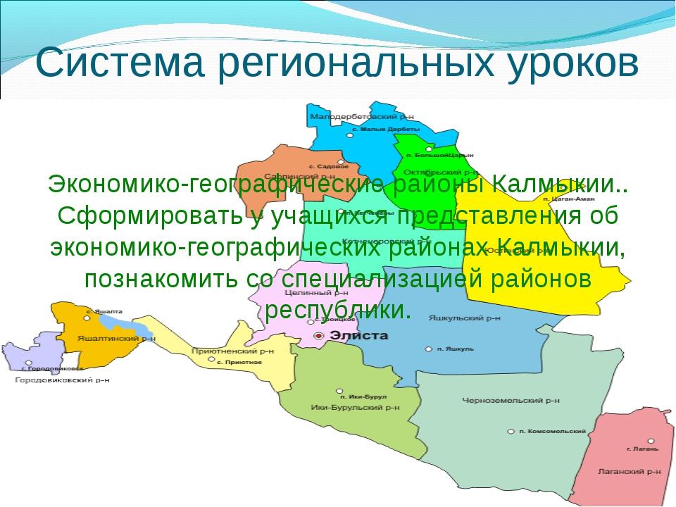 Система региональных уроков Экономико-географические районы Калмыкии.. Сформи...