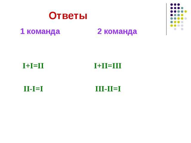 Ответы 1 команда 2 команда I+I=II I+II=III II-I=I III-II=I