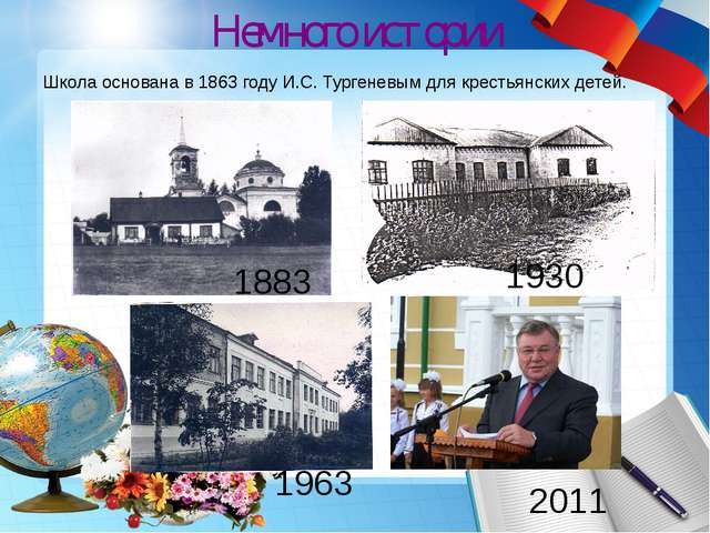 Немного истории Школа основана в 1863 году И.С. Тургеневым для крестьянских д...