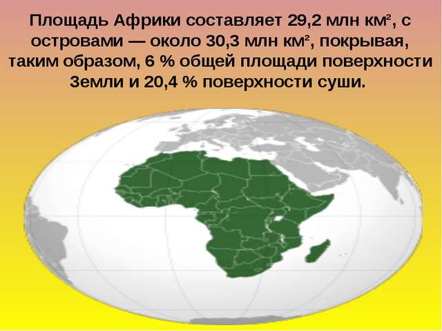 Площадь Африки составляет 29,2млн км², с островами— около 30,3млн км², пок...