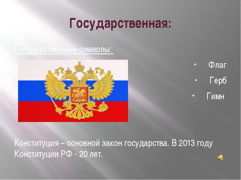 Государственная: Государственные символы: Флаг Герб Гимн Конституция – основн...