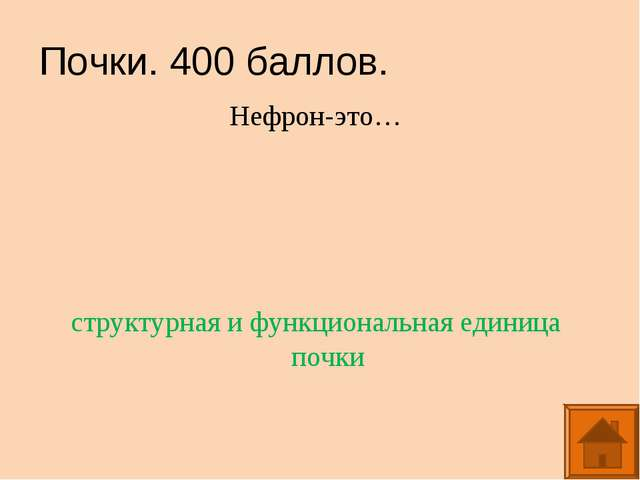 Почки. 400 баллов. Нефрон-это… структурная и функциональная единица почки