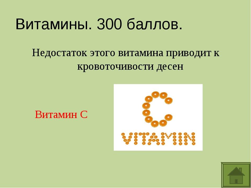 Витамины. 300 баллов. Недостаток этого витамина приводит к кровоточивости дес...