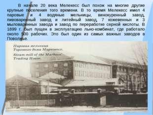 В начале 20 века Мелекесс был похож на многие другие крупные поселения того