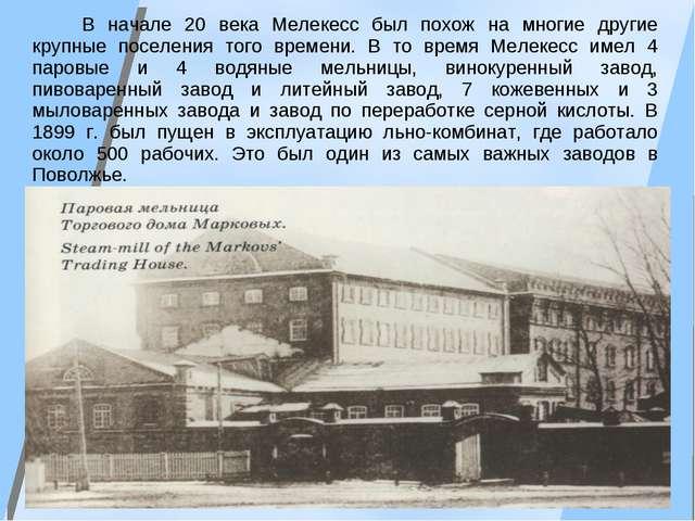 В начале 20 века Мелекесс был похож на многие другие крупные поселения того...