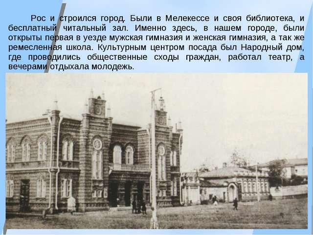 Рос и строился город. Были в Мелекессе и своя библиотека, и бесплатный читал...