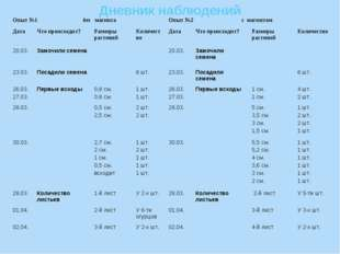 Дневник наблюдений Опыт №1 без магнитаОпыт №2 с магнитом ДатаЧто происходи