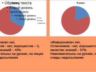 «Жаворонков» нет, Отличников - нет, хорошистов – 3, качество знаний – 43%. Н