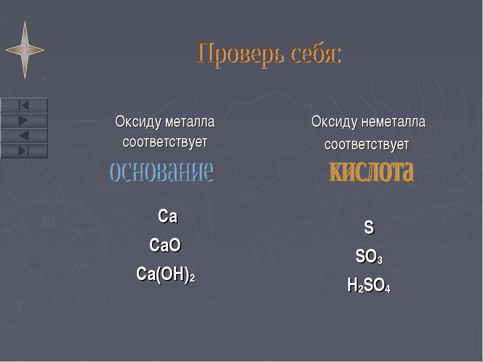Оксиду металла соответствует Ca CaO Ca(OH)2 Оксиду неметалла соответствует S...