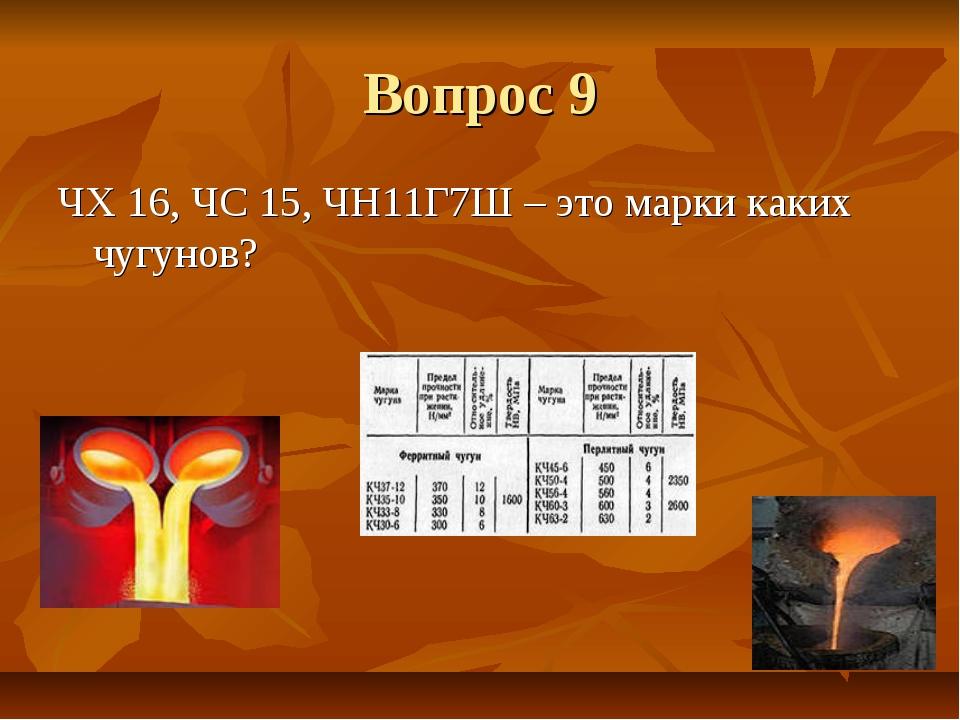 Вопрос 9 ЧХ 16, ЧС 15, ЧН11Г7Ш – это марки каких чугунов?