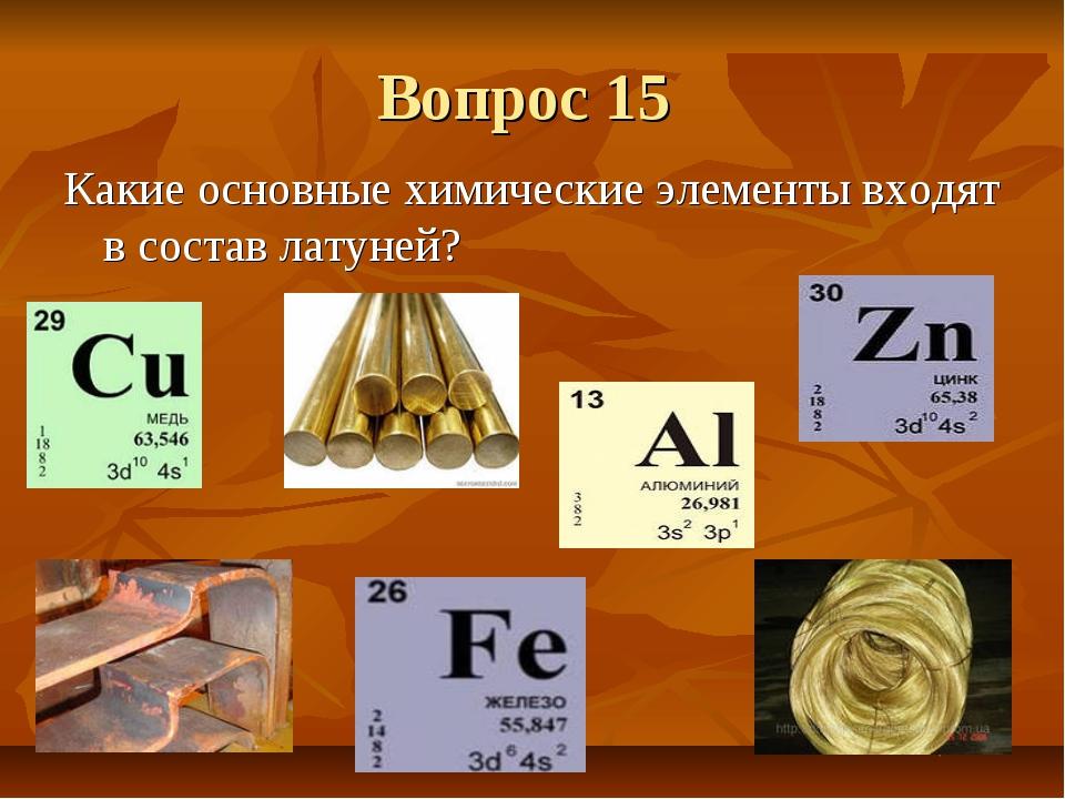 Вопрос 15 Какие основные химические элементы входят в состав латуней?