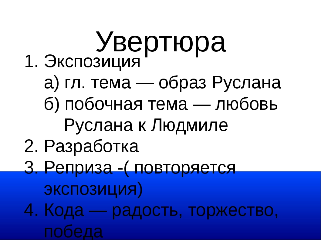 Увертюра 1. Экспозиция а) гл. тема — образ Руслана б) побочная тема — любовь...