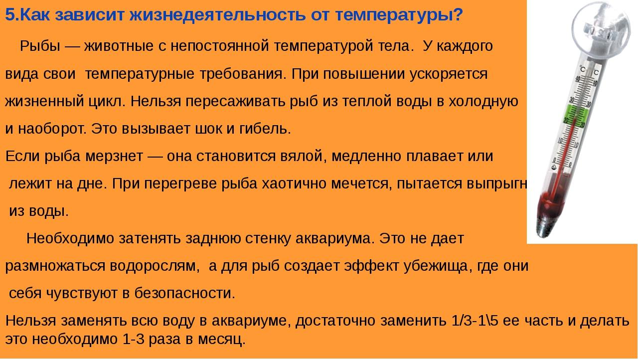 5.Как зависит жизнедеятельность от температуры? Рыбы — животные с непостоянно...