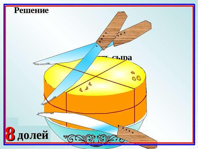 2 доли 4 Какая часть сыра осталась на блюде? Решение