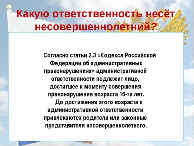 Какую ответственность несёт несовершеннолетний? Согласно статьи 2.3 «Кодекса...