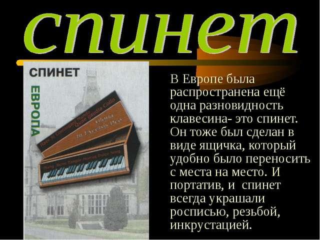В Европе была распространена ещё одна разновидность клавесина- это спинет. О...