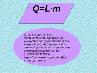 Q=L·m Q- количество теплоты, необходимое для превращения жидкости в пар (выде