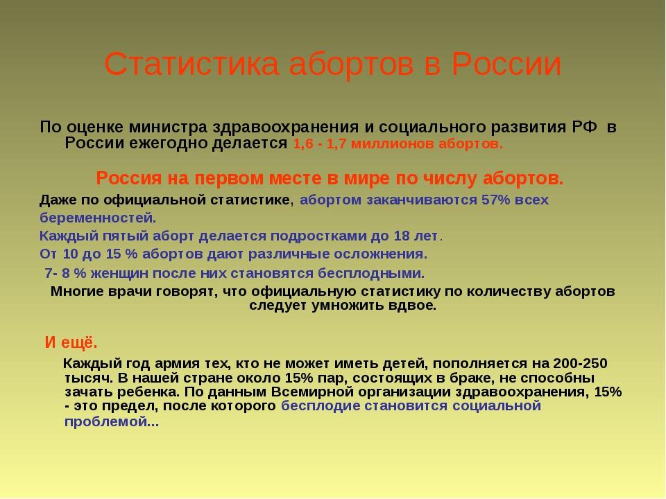 Статистика абортов в России По оценке министра здравоохранения и социального...