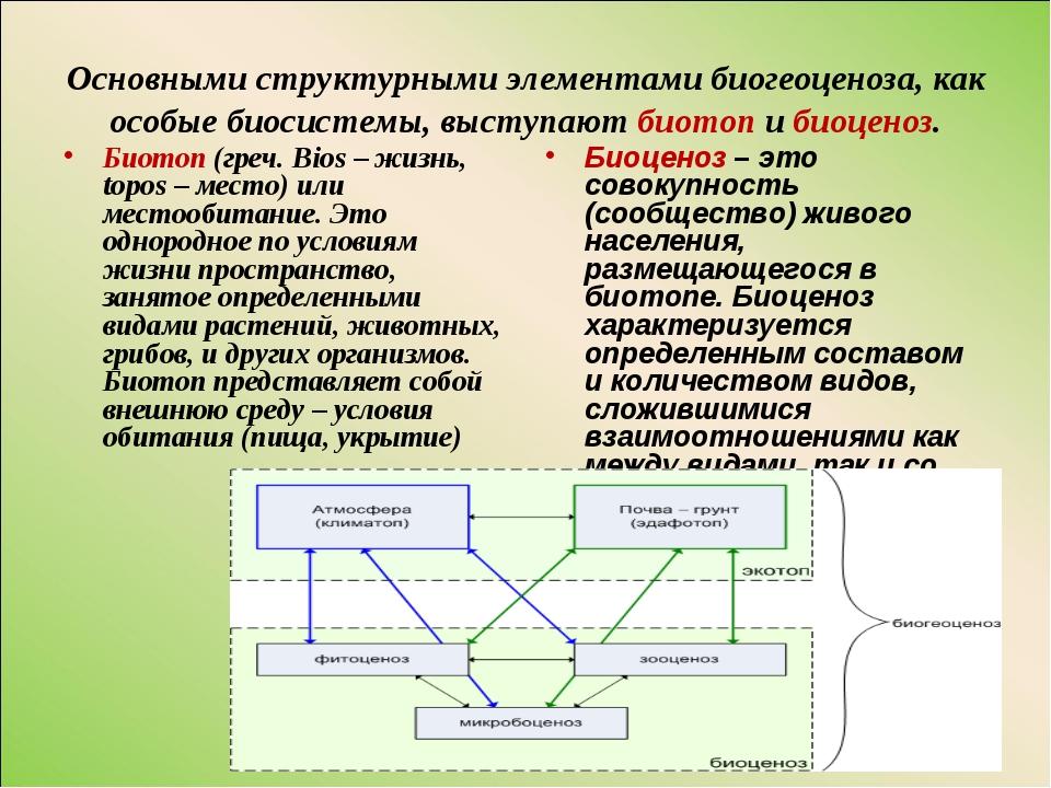Основными структурными элементами биогеоценоза, как особые биосистемы, выступ...