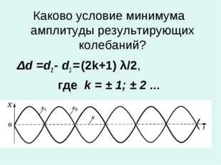 Каково условие минимума амплитуды результирующих колебаний? Δd =d2 - d1 = (2k