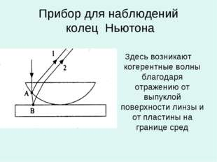Прибор для наблюдений колец Ньютона Здесь возникают когерентные волны благода