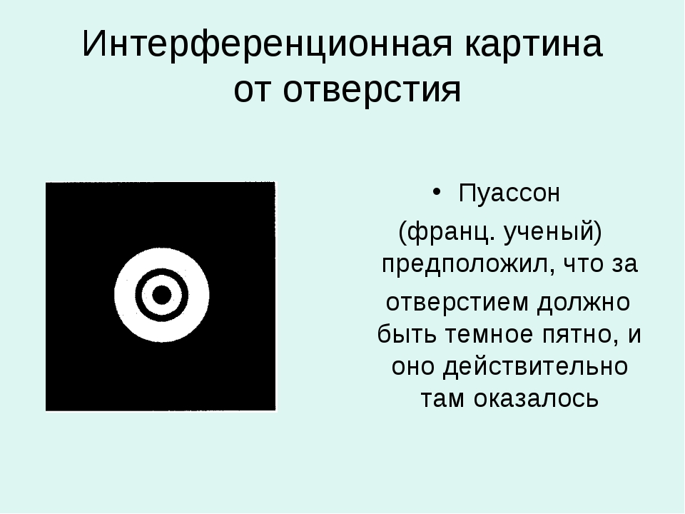 Интерференционная картина от отверстия Пуассон (франц. ученый) предположил, ч...