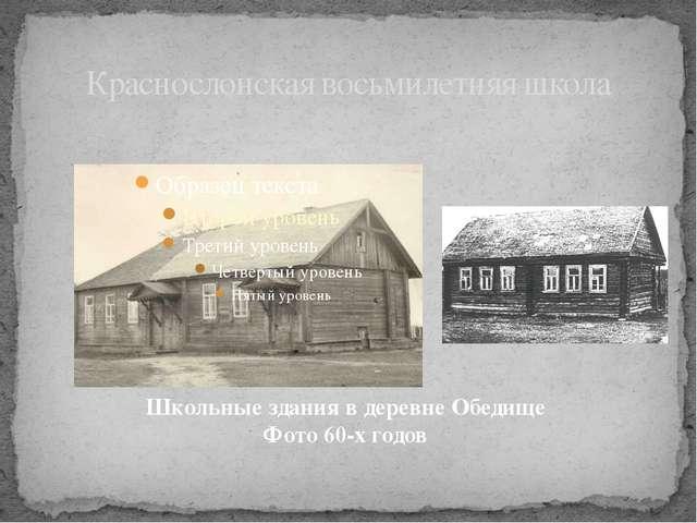 Краснослонская восьмилетняя школа Школьные здания в деревне Обедище Фото 60-х...