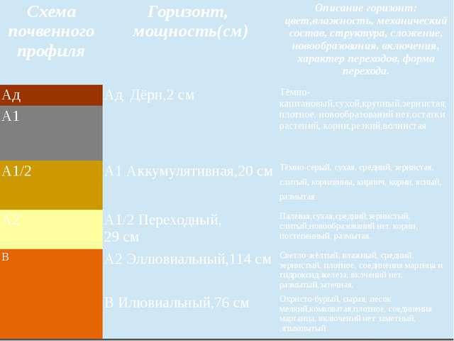 Схема почвенного профиля Горизонт, мощность(см) Описание горизонт:цвет,влажно...