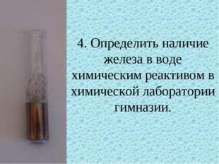 4. Определить наличие железа в воде химическим реактивом в химической лаборат
