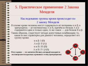 5. Практическое применение 2 Закона Менделя Наследование группы крови происхо