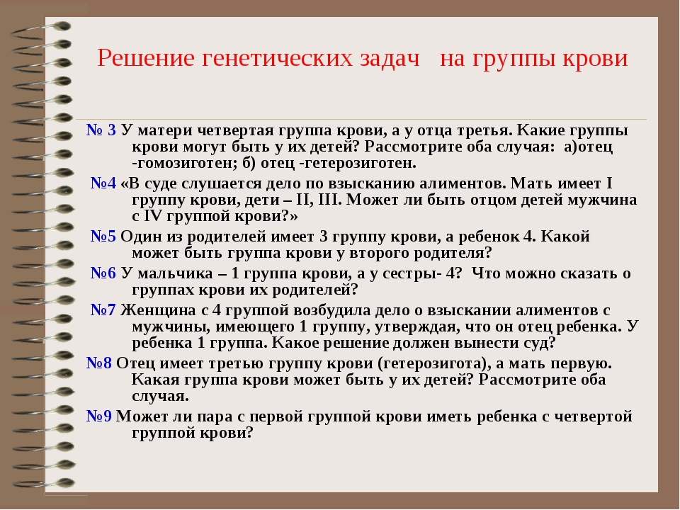 Решение генетических задач на группы крови № 3 У матери четвертая группа кров...
