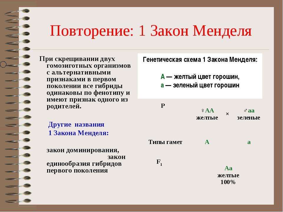 Повторение: 1 Закон Менделя При скрещивании двух гомозиготных организмов с ал...
