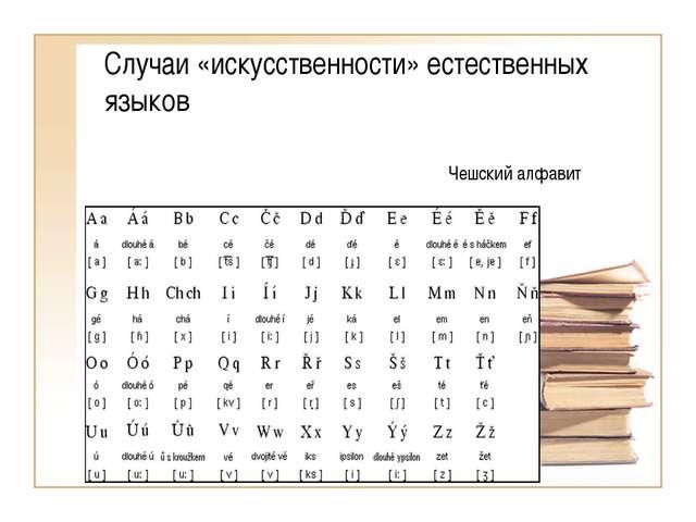 Случаи «искусственности» естественных языков Чешский алфавит
