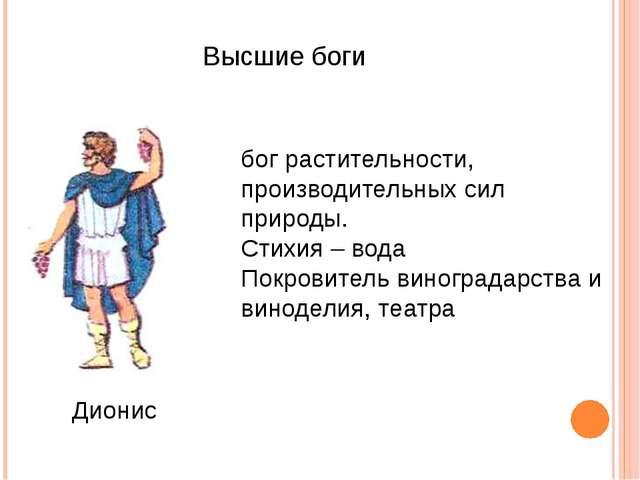 Высшие боги Дионис бог растительности, производительных сил природы. Стихия...