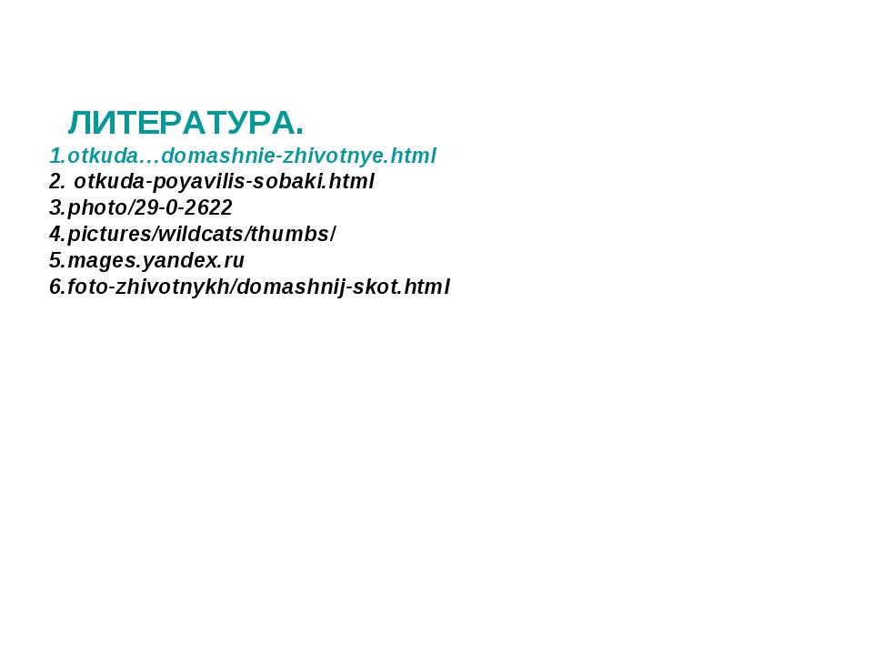 ЛИТЕРАТУРА. 1.otkuda…domashnie-zhivotnye.html 2. otkuda-poyavilis-sobaki.htm...