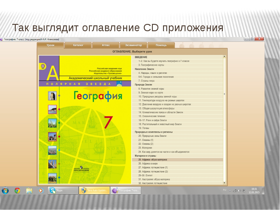 Так выглядит оглавление CD приложения