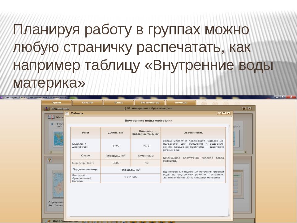 Планируя работу в группах можно любую страничку распечатать, как например таб...