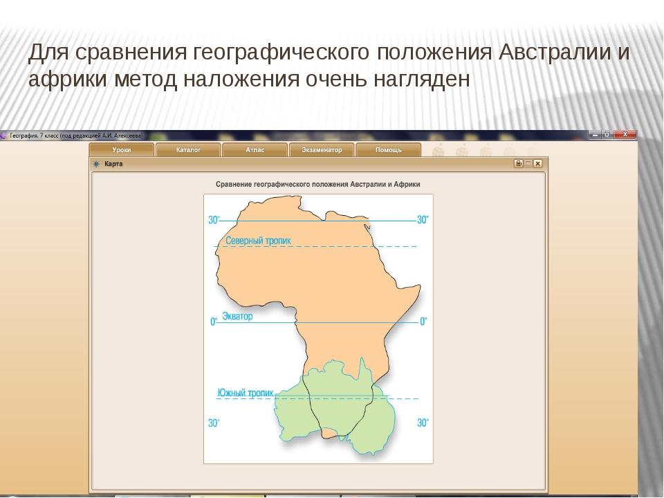 Для сравнения географического положения Австралии и африки метод наложения оч...
